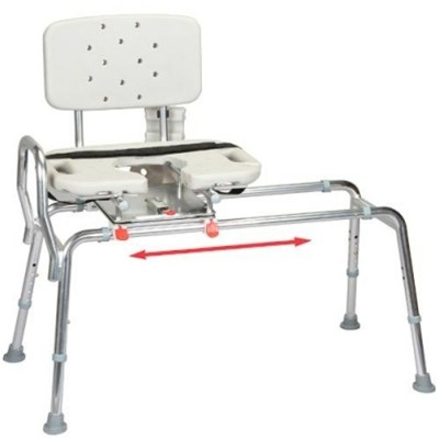 Sliding Transfer Bench w Replaceable Cutout Swivel Seat