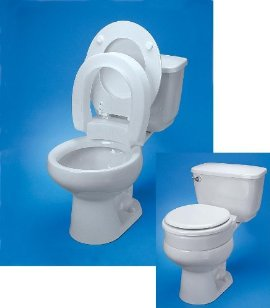 Toilet seat, hinged, elevated